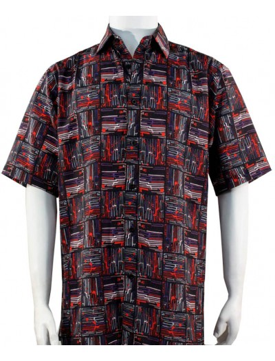 Bassiri S/S Button Down Men's Shirt - Pattern Squares / Red