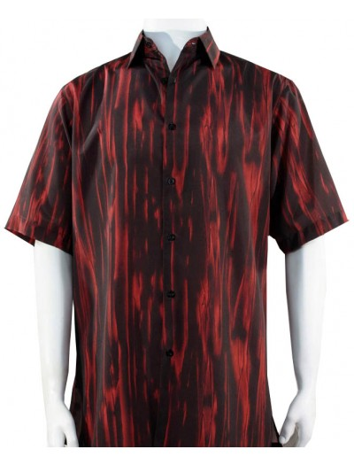 Bassiri S/S Button Down Men's Shirt - Pattern / Red
