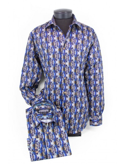 Giovanni Marquez Men's European Shirt - Blue / Astract Pattern