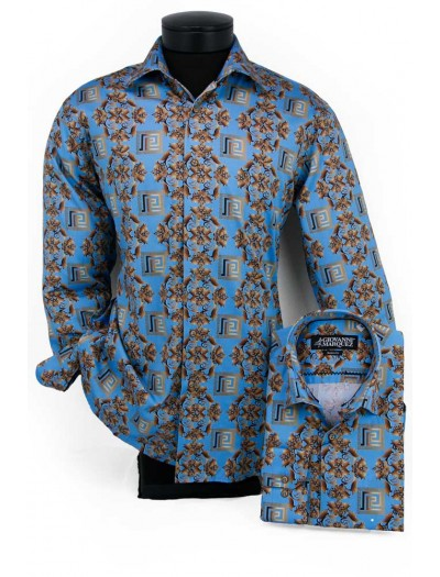 Giovanni Marquez Men's European Shirt - Turquoise / Gold Greek Key a