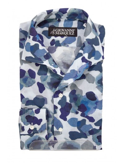Giovanni Marquez Men's Italian Shirt - White with Camo Pattern