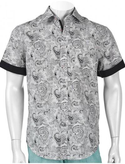 Men's 100% Linen S/S Shirt by Inserch / Merc - B/W Paisley a