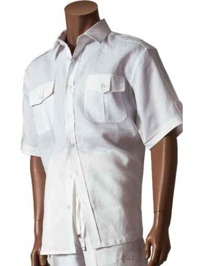 Men's 100% Linen Fashion Shirt by Merc/InSerch - White / Pocket Detail