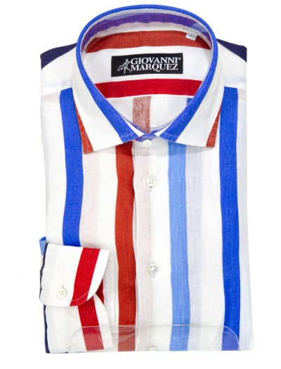 Giovanni Marquez Men's European Shirt - White with Bold Stripe