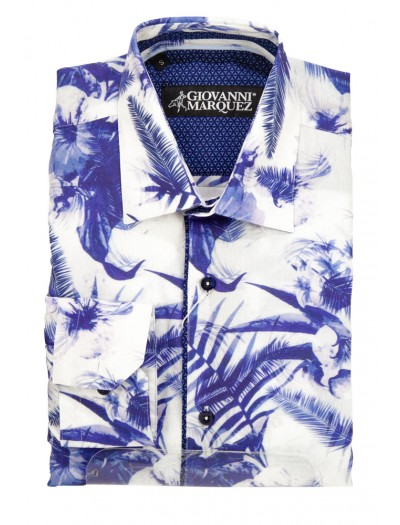 Giovanni Marquez Men's European Shirt - White with Blue Palms