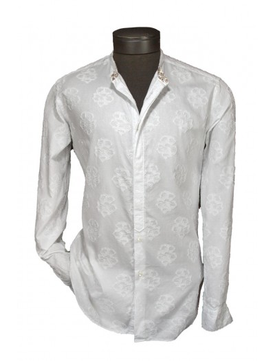 Giovanni Marquez Italian Cotton Shirt - White on White - Floral