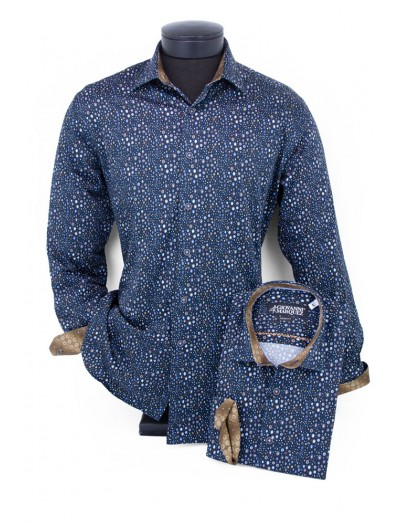 Giovanni Marquez Men's European Shirt - Navy / Multi Mini Oval a