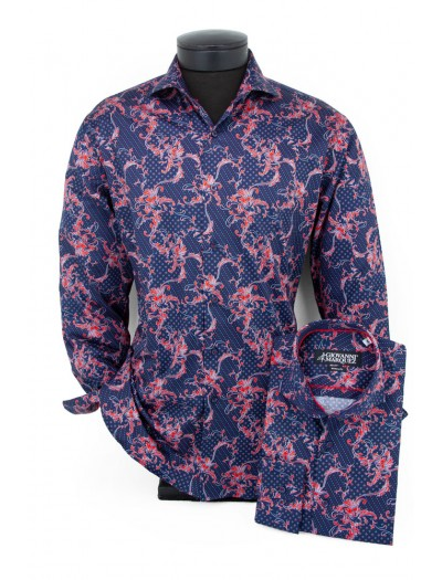 Giovanni Marquez Men's European Shirt - Navy / Red Filgree a