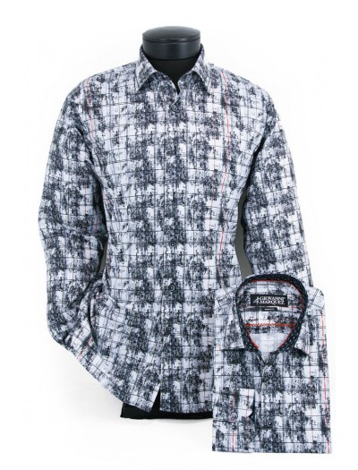 Giovanni Marquez Men's European Shirt - White / Black Multi Scratch a