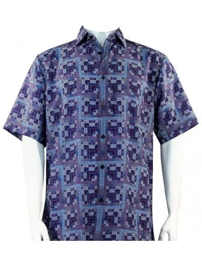 Bassiri S/S Button Down Men's Shirt - Greek Key Blocks / Blue
