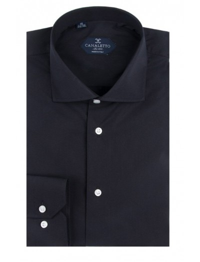Canaletto Modern Fit Men's Dress Shirt - Made in Italy - Acapulco Black