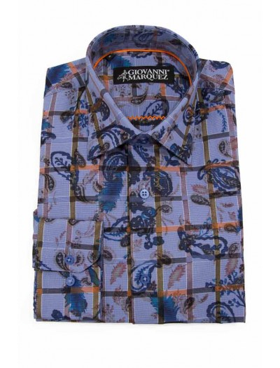 Giovanni Marquez Sport Shirt- Blue Paisley with Grid
