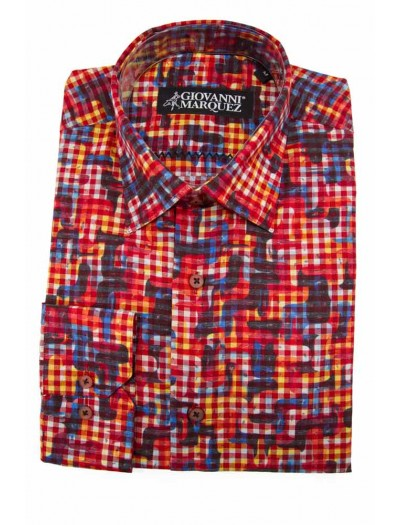 Giovanni Marquez Sport Shirt- Red Check Pattern
