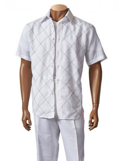 Men's Linen S/S Fashion Shirt by Merc/InSerch - White