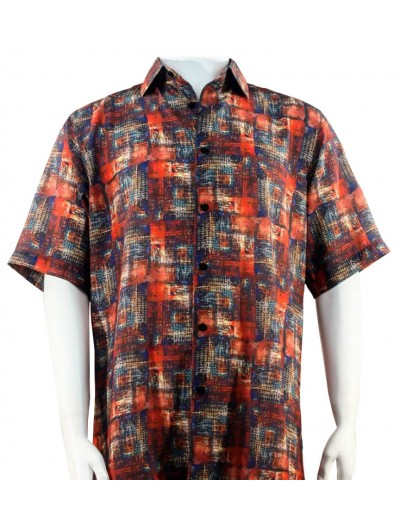 Bassiri S/S Button Down Men's Shirt - Pattern / Red Multi