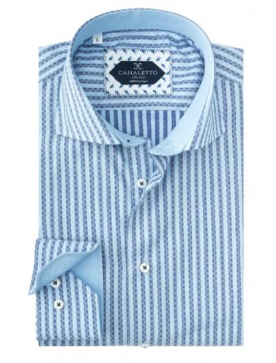 Tiglio / Canaletto L/S Sport Shirt - Blue Pattern Stripe a