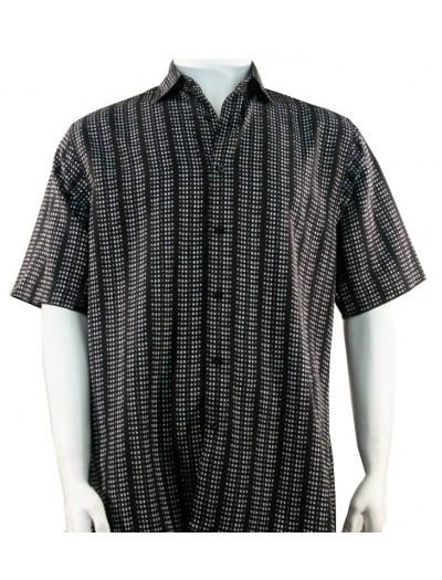 Bassiri S/S Button Down Men's Shirt - Dot Pattern / Black