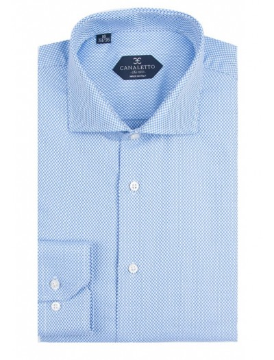 Canaletto Modern Fit Men's Dress Shirt - Made in Italy - Firenze Med Blue