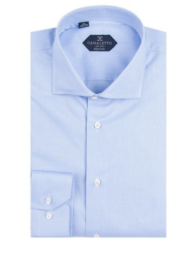 Canaletto Modern Fit Men's Dress Shirt - Made in Italy - Firenze E Blue