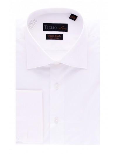 Tiglio Satin Finish Men's Dress Shirt - White