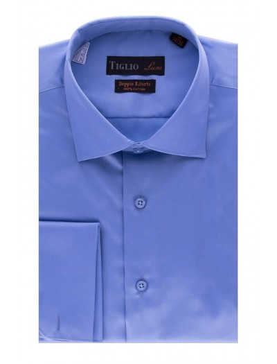 Tiglio Satin Finish Men's Dress Shirt - Blue