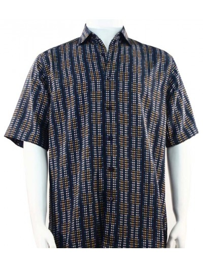 Bassiri S/S Button Down Men's Shirt - Dot Pattern / Navy