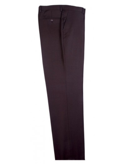 Men's Flat-Front Pants by Tiglio - Brown Birdseye