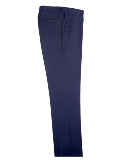 Men's Flat-Front Pants by Tiglio - Blue Birdseye
