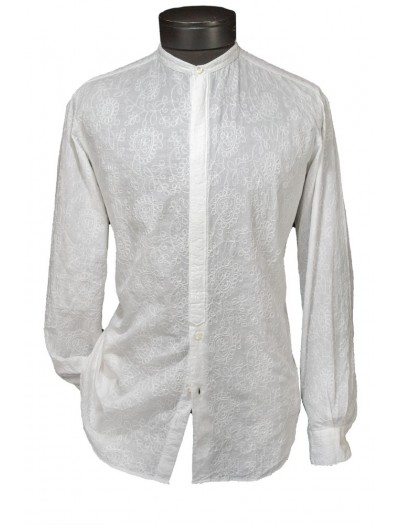 Giovanni Marquez Italian Cotton Shirt - White on White - Floral Stitching