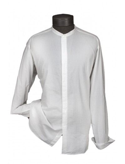 Giovanni Marquez Italian Cotton Shirt - White on White - Seersucker