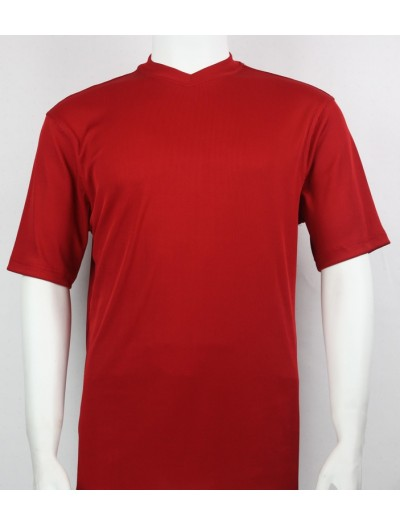 Bassiri S/S Mens V-Neck Knit Microfiber T-Shirt - Red