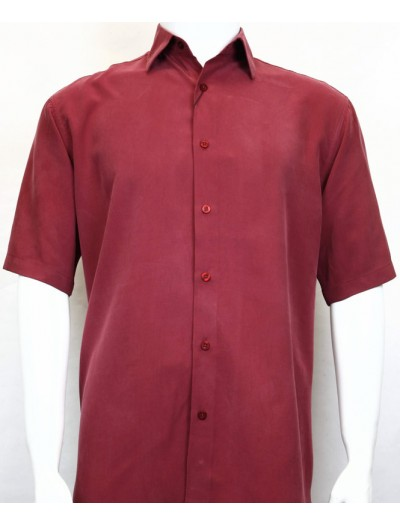 Bassiri S/S Button Down Men's Shirt - Solid / Red