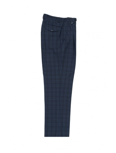 Men's Wide Leg Pleated Pants by Tiglio - 2586/2576 Steel Blue/Blue/Navy Windowpane