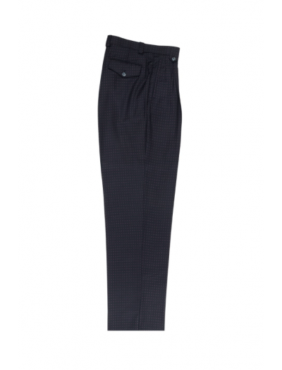 Men's Wide Leg Pleated Pants by Tiglio - 2586/2576 Blue/Black/Brown Check
