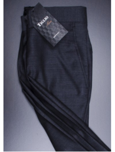 Men's Flat Front Pants by Tiglio - 2560 Charcoal