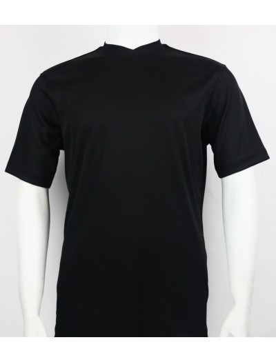 Bassiri S/S Mens V-Neck Knit Microfiber T-Shirt - Black