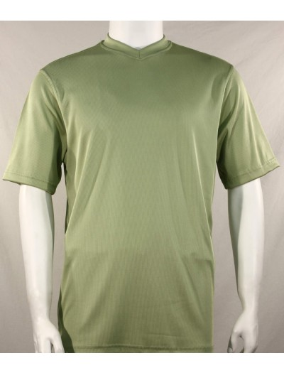 Bassiri S/S Mens V-Neck Knit Microfiber T-Shirt - Mint
