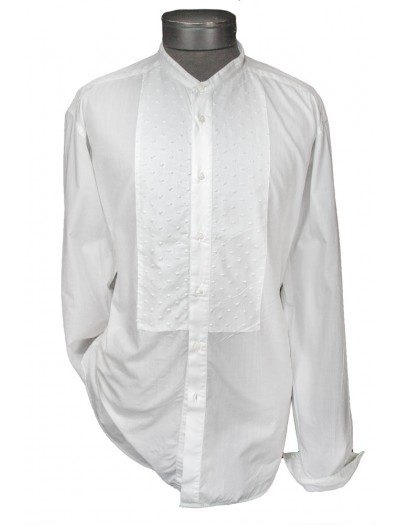 Giovanni Marquez Italian Cotton Shirt - White on White - Dotted Bib Front