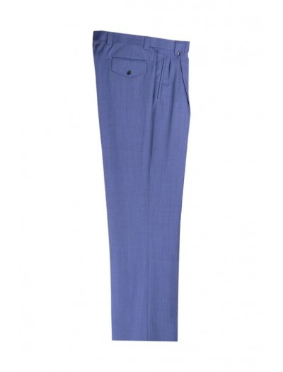 Men's Wide Leg Pleated Pants by Tiglio - 2576 Blue