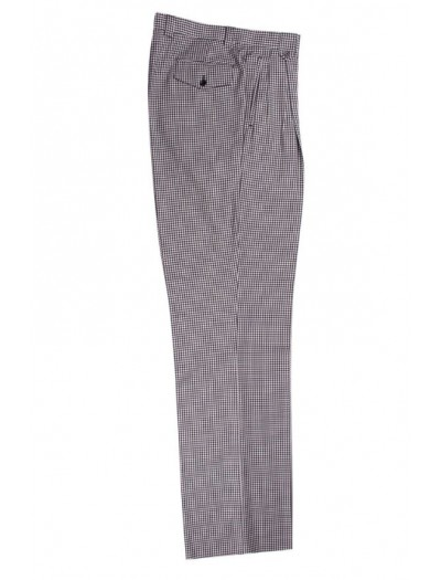 Men's Wide Leg Pleated Pants by Tiglio - 2576 Black and White Houndstooth