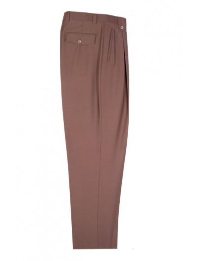 Men's Wide Leg Pleated Pants by Tiglio - 2576 Tobacco