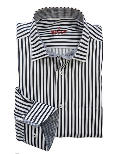 Men's Fashion Shirt by Marcello Sport - Black Pinstripe