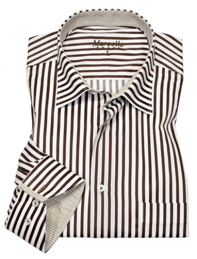 Men's Fashion Shirt by Marcello Sport - Chocolate Pinstripe
