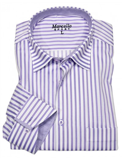Men's Fashion Shirt by Marcello Sport - Lavender Pinstripe