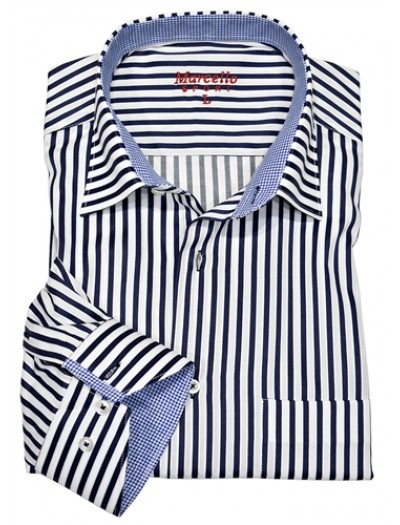 Men's Fashion Shirt by Marcello Sport - Navy Pinstripe