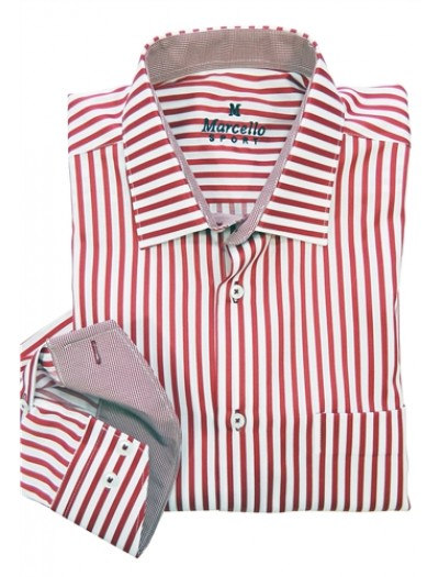 Men's Fashion Shirt by Marcello Sport - Red Pinstripe