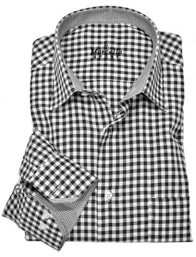 Men's Fashion Shirt by Marcello Sport - Black Check