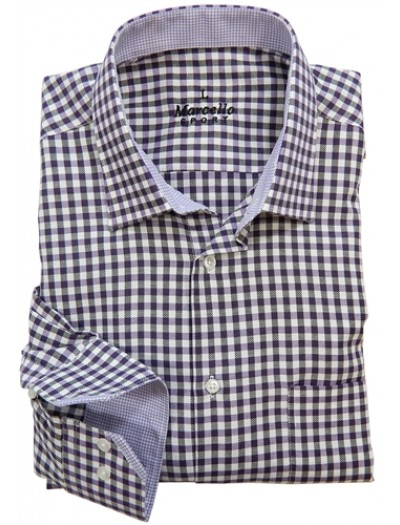 Men's Fashion Shirt by Marcello Sport - Purple Check