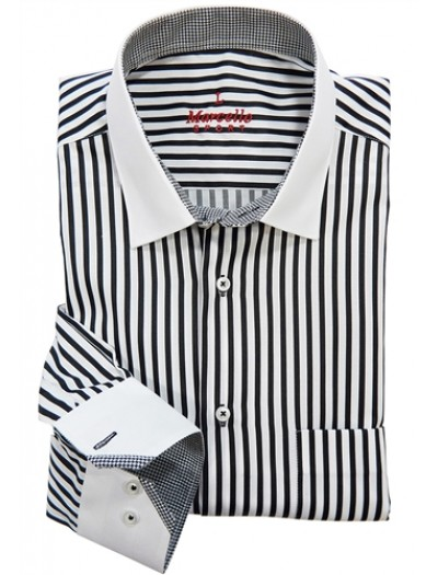 Men's Fashion Shirt by Marcello Sport - Black Stripe