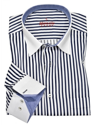 Men's Fashion Shirt by Marcello Sport - Navy Stripe